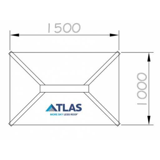 Atlas 1m x 1.5m Aluminium roof lantern 4 Pane