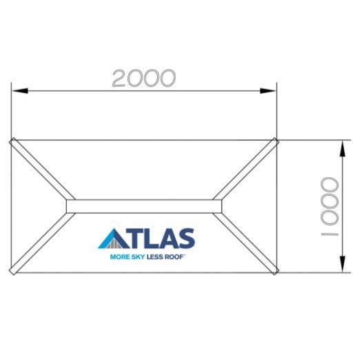 Atlas 2M X 1M Aluminium Roof Lantern 4 Pane