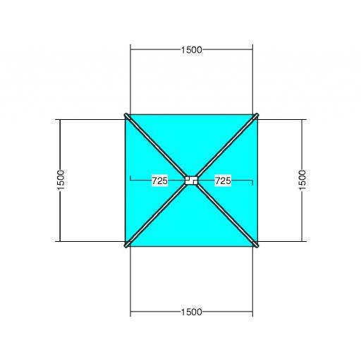 Atlas 1.5m x 1.5m Aluminium roof lantern 4 Pane