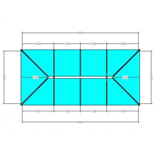 Atlas 5.5m x 2.5m Aluminium roof lantern