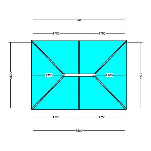 Atlas 3.5m x 2.5m Aluminium roof lantern