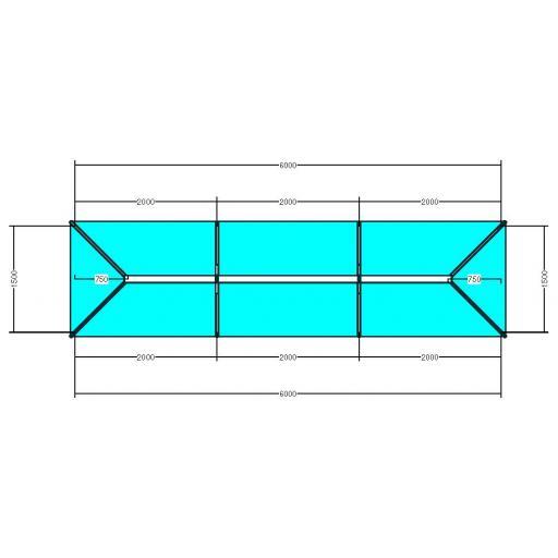 Atlas 6m x 1.5m Aluminium roof lantern