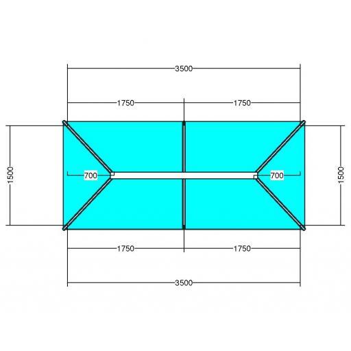 Atlas 3.5m x 1.5m Aluminium roof lantern