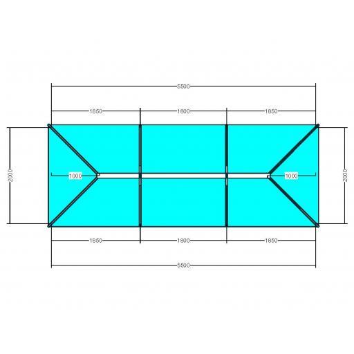 Atlas 5.5m x 2m Aluminium roof lantern